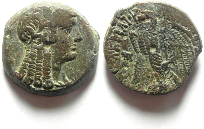 Ancient Coins - Ptolemaic Kingdom. Ptolemy VI Philometor. First reign, 180-164 B.C. Æ hemidrachm , CHOICE QUALITY
