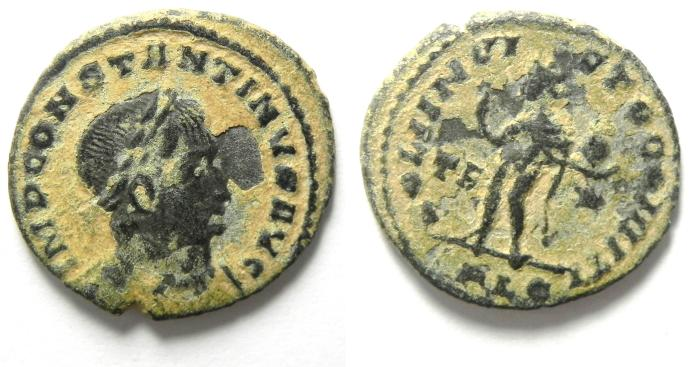 Ancient Coins - CONSTANTINE I AE FOLLIS AS FOUND , VERY NICE