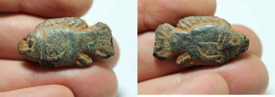 Ancient Coins - ANCIENT HOLY LAND. 14TH CENTURY B.C. BRONZE WEIGHT. FISH