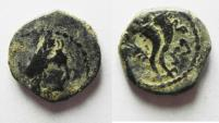 Ancient Coins - NABATAEAN KINGDOM. ARETAS IV NAMING HIS SON PHASAEL. AE 14