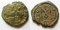 Ancient Coins - 	Arab-Byzantine. AE fals. Beisan (Nysa-Scythopolis) mint imitating types of Justin II at Nicomedia, AD 566-578.