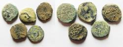 Ancient Coins - LOT OF 5 HASMONEAN , JUDAEAN AE PRUTOT