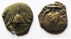 Ancient Coins - BARBARIC:Judaea, The Herodians. Herod Archelaus, 4 BC-6 AD. AE Prutah .