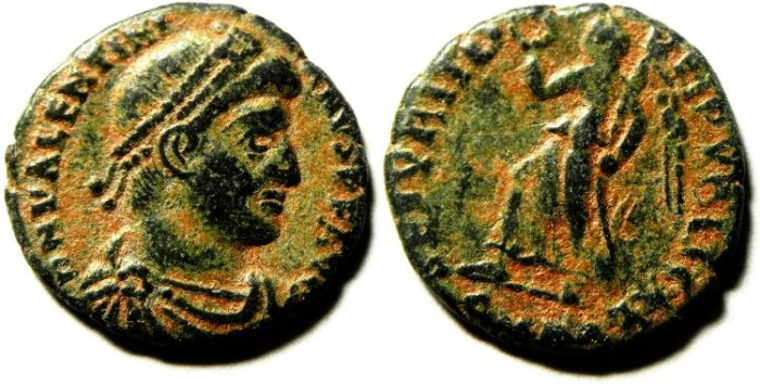 Ancient Coins - VAENTINIAN AE 3 ,NICE NATURAL PATINE