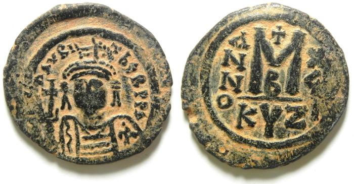 Ancient Coins - BYZANTINE MAURICE TIBERIUS AE FOLLIS , ATTRACTIVE