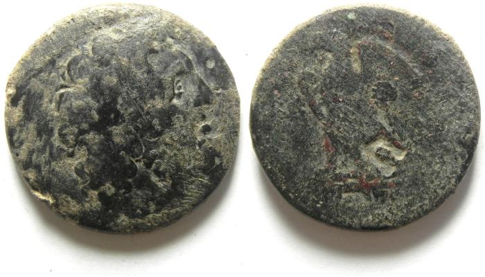 Ancient Coins -   PTOLEMAIC KINGDOM , PTOLEMY II AE 27 , UNUSUAL COUNTERMARK