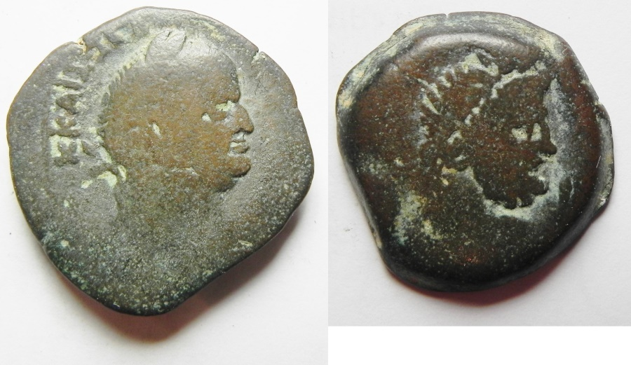 Ancient Coins - EGYPT , ALEXANDRIA, VESPASIAN AE DI-OBOL