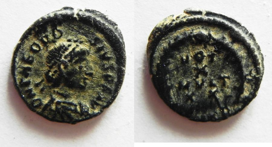 Ancient Coins - THEODOSIUS II AE 4 . SCARCE