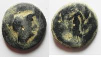 Ancient Coins - NABATAEAN KINGDOM. ARETAS II / III. OVER-STRUCK ON PTOLEMY COIN. AE 21