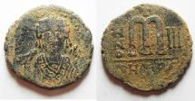 Ancient Coins - BYZANTINE. MAURICE TIBERIUS AE FOLLIS. ANTIOCH