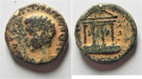 Ancient Coins - Judaea. Herodian dynasty. Herod Philip, with Augustus. (4 BCE-34 CE). AE 17mm, 5.00g. Caesarea Panias mint. Struck in regnal year 12 (8/9 CE).