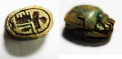 Ancient Coins - ANCIENT EGYPT , NEW KINGDOM GLAZED STONE SCARAB. 1400 B.C