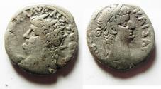 Ancient Coins - EGYPT. ALEXANDRIA. NERO BILLON TETRADRACHM. WITH TIBERIUS