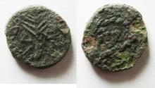 Ancient Coins - 	BE-HEADER OF JOHN THE BAPTIST: Judaea, Herodian dynasty. Herod Antipas. (4 BCE-39 CE). Tiberias mint. AE unit