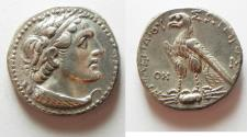 Ancient Coins - Egypt. ptolemaic kings. Ptolemy V Epiphanes. 204-180 BC. AR tetradrachm (26mm, 14.14g). Uncertain Cypriot or Phoenician mint. Struck in era year 78 (185/4 BC).
