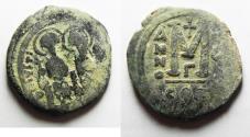 Ancient Coins - BYZANTINE. JUSTIN II & SOPHIA AE FOLLIS