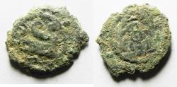 Ancient Coins - AS FOUND: Judaea, The Herodians. Herod Archelaus, 4 BC-6 AD. AE Prutah . Prow