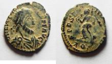 Ancient Coins - ORIGINAL DESERT PATINA: ROMAN IMPERIAL. Eugenius (AD 392-394). AE 4 (15mm, 1.07g). Aquileia mint.