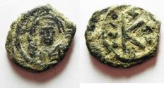 Ancient Coins - BYZANTINE. MAURICE TIBERIUS AE HALF FOLLIS