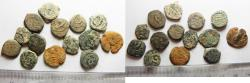 Ancient Coins - JUDAEAN AE PRUTOT. LOT OF 14. AS FOUND