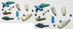 Ancient Coins - ANCIENT EGYPT, NEW KINGDOM. AMARNA GROUP OF 8 FAIENCE AMULETS. 1400 B.C. TIME OF KING TUTANKHAMUN