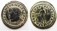 Ancient Coins - STUNNING COIN, CHOICE HIGHLIGHT OF DESERT PATINA: Constantius I Ae. follis (AD 305-307). LYON MINT