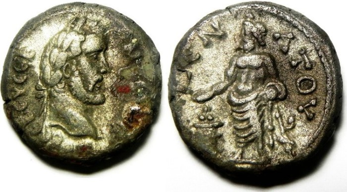 Ancient Coins - ALEXANDRIA, EGYPT, ANTONINUS PIUS BILLON TETRADRACHM , SERAPIS, BEAUTIFULL QUALITY!