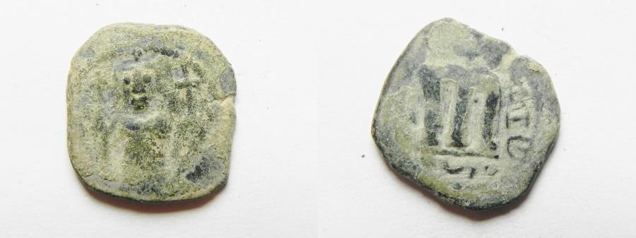 World Coins - ISLAMIC. ARAB-BYZANTINE AE FALS. 650 - 700 A.D