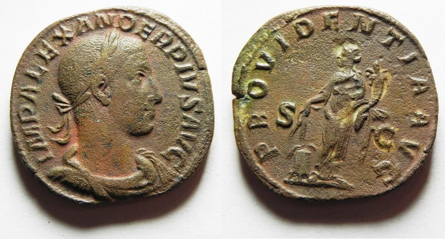 Ancient Coins - VERY ATTRACTIVE: Severus Alexander. AD 222-235. Æ Sestertius. Rome mint.