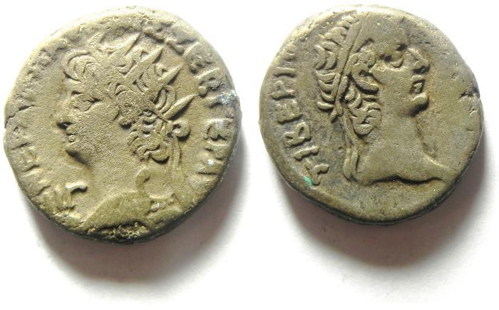 Ancient Coins - EGYPT , ALEXANDRIA , NERO , AR TETRADRACHM , BUST OF TIBERIUS, RARE