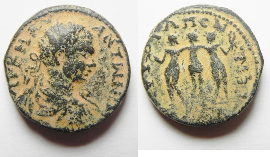 Ancient Coins - DECAPOLIS , GADARA . GORDIAN AE 18 , 3 GRACES