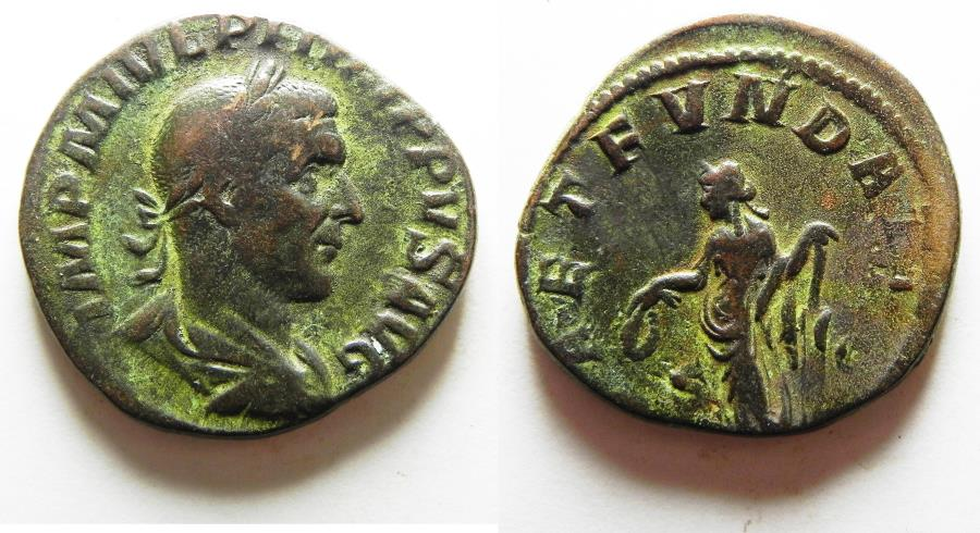 Ancient Coins - PHILIP I THE ARAB AE SESTERTIUS