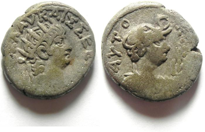 Ancient Coins - ALEXANDRIA , EGYPT , NERO , BILLON TETRADRACHM