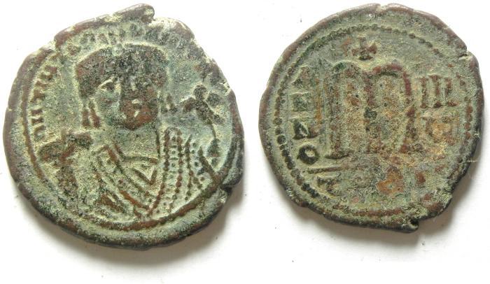 Ancient Coins - BYZANTINE , VERY NICE MAURICE TIBERIUS AE FOLLIS , ANTIOCH