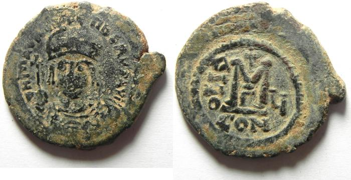 Ancient Coins - BYZANTINE   MAURICE TIBERIUS AE FOLLIS