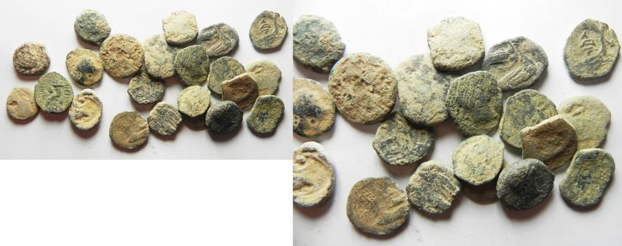 Ancient Coins - NABATAEAN LOT OF 22 AE COINS. AS FOUND