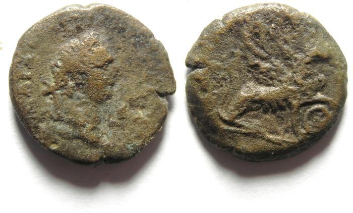 Ancient Coins - EGYPT , ALEXANDRIA , DOMITIAN AE OBOL , SPHINX , VERY RARE
