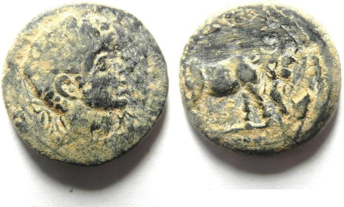Ancient Coins - ARABIA , PETRA , ELAGABALUS FOUNDER COIN , AE 19 , OVER STRUCK