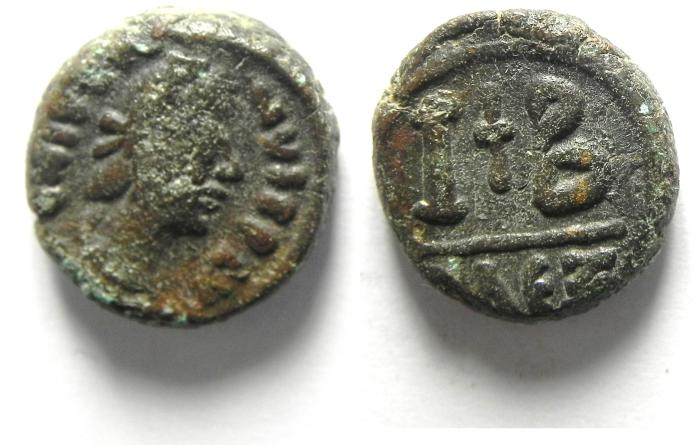 Ancient Coins - JUSTINE I AE 12 NUMMI , ALEXANDRIA MINT