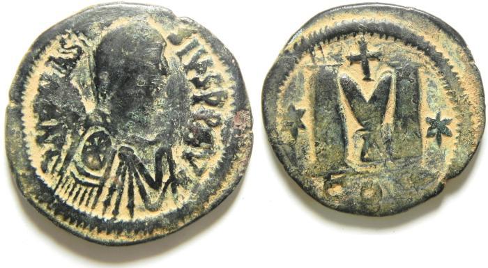 Ancient Coins - BYZANTINE , ANASTASIUS AE FOLLIS , ATTRACTIVE