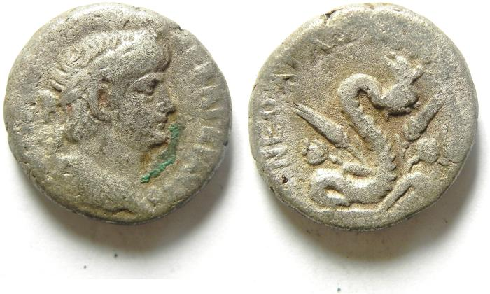 Ancient Coins - EGYPT , ALEXANDRIA , NERO AR TETRADRACHM , RARE REVERSE OF AGATHODAEMON