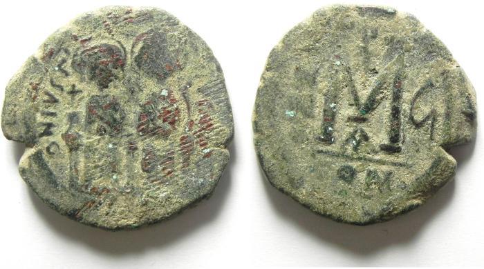 Ancient Coins - BYZANTINE JUSTIN II & SOFIA AE FOLLIS