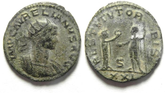 Ancient Coins - AURELIAN ANTONINIANUS , SILVERED