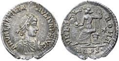Ancient Coins - Valentinian II AR Siliqua, Toned Extremely Fine, Aquileia Mint, 375 - 378 C.E.