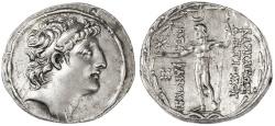 Ancient Coins - Antiochos VIII Epiphanes Grypos AR Tetradrachm, AEF/VF, Ake-Ptolemais Mint, 121 - 113 B.C.E.