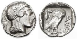 Ancient Coins - Attica, Athens AR Tetradrachm, Very Fine, 455 - 404 BCE