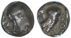 Ancient Coins - Ashkelon countermarked Gaza Philistian Drachm, Exceptionally RARE, 5th  - 4th Century B.C.E.