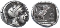 Ancient Coins - Attica, Athens AR Drachm, Choice Fine, Cabinet toned, 454 - 404 B.C.E.