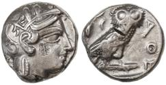Ancient Coins - Attica, Athens AR Tetradrachm with West Semitic countermark, 420 - 390 B.C.E.