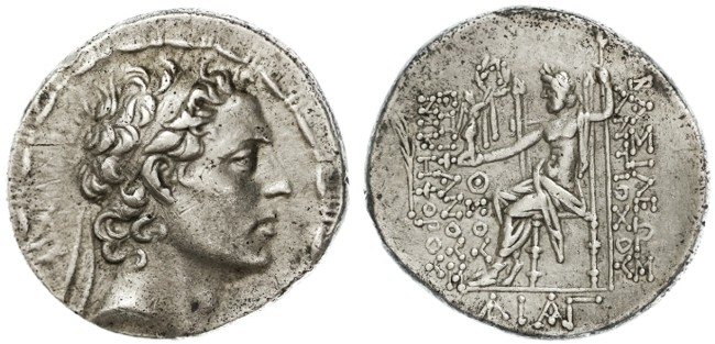 Ancient Coins - Antiochos IV Epiphanes AR Tetradrachm, Good Very Fine, Struck while fighting in Judaea, 167 - 164 B.C.E.